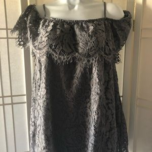 🌷Gray lace off the shoulder top. Size XL NWT
